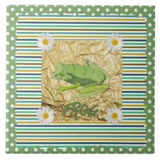 Green Frog on Sage and Teal Stripes Collage Ceramic Tile