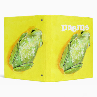 Green frog on yellow background watercolour 3 ring binder