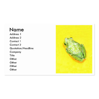 Green frog on yellow background watercolour Double-Sided standard business cards (Pack of 100)
