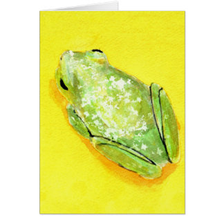 Green frog on yellow background watercolour stationery note card