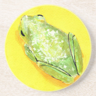 Green frog on yellow background watercolour drink coasters