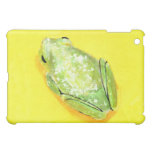 Green frog on yellow background watercolour case for the iPad mini