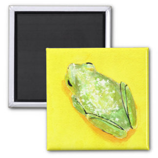 Green frog on yellow background watercolour magnet
