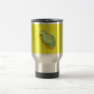 Green frog on yellow background watercolour 15 oz stainless steel travel mug