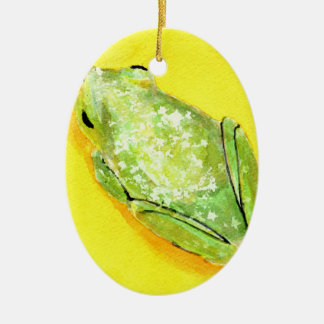 Green frog on yellow background watercolour Double-Sided oval ceramic christmas ornament