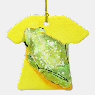 Green frog on yellow background watercolour christmas tree ornaments