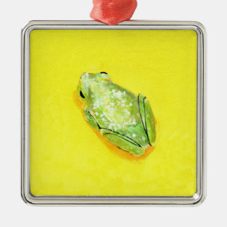 Green frog on yellow background watercolour ornaments