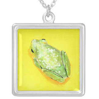 Green frog on yellow background watercolour square pendant necklace