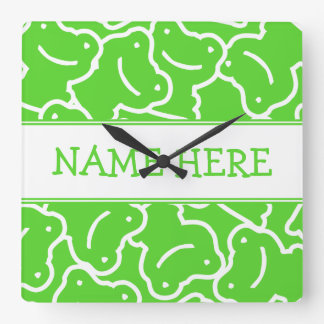 Green Frog Pattern Add Your Name Square Wall Clock