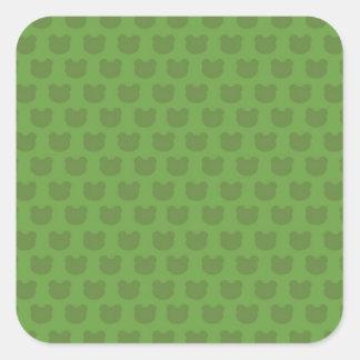 Green Frog Pattern Square Sticker