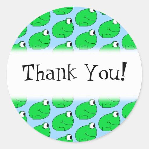 Green Frog Pattern. Thank You. Round Sticker