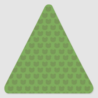 Green Frog Pattern Triangle Sticker