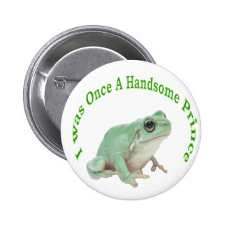 Green frog prince 2 inch round button