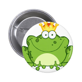 Green Frog Prince Cartoon Character 2 Inch Round Button