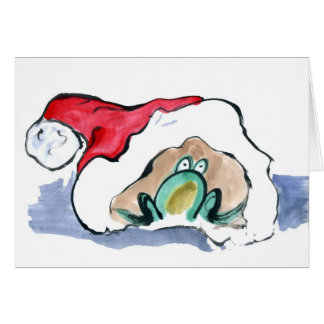 Green Frog sits inside a Santa's Hat Greeting Card