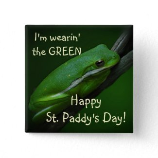 Green Frog St. Patrick's Day Button button