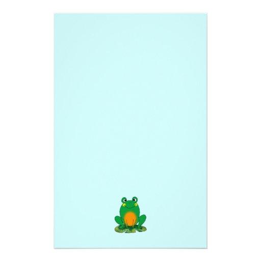 Green frog stationery design