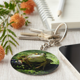 Green Frog Strikes a Pose on the Hose Keychain