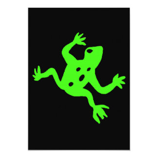 Green Frog / Toad, Black Background Personalized Invitation