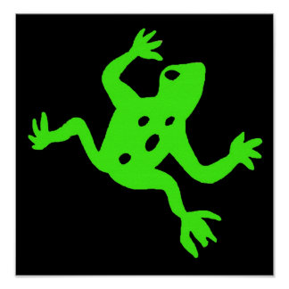 Green Frog / Toad, Black Background Posters