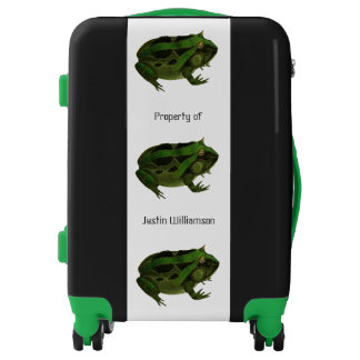 Green Frog Toad Black Personalized Luggage