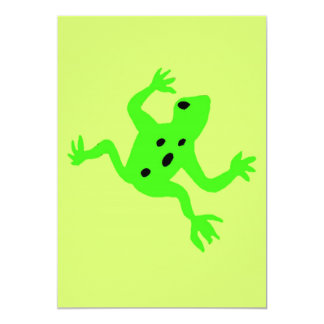 Green Frog / Toad, Lime Green Background Personalized Invitations