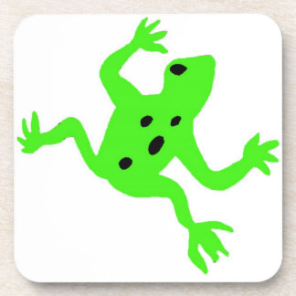 Green Frog / Toad, White Background Drink Coaster
