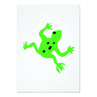 Green Frog / Toad, White Background Personalized Invite