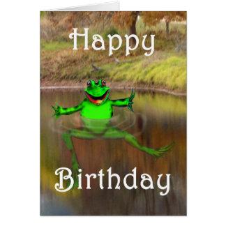 Green frog waving and swimming , Happy Birthday Card