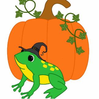 Green Frog Witch with Halloween Pumpkin Photo Sculpture Button