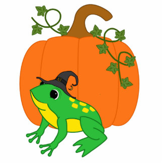Green Frog Witch with Halloween Pumpkin Photo Sculpture Keychain
