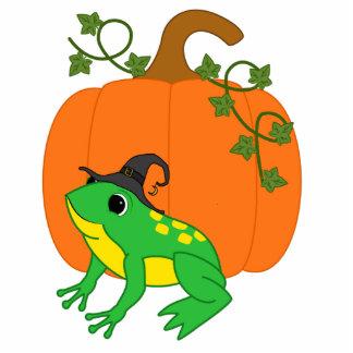 Green Frog Witch with Halloween Pumpkin Photo Sculpture Magnet