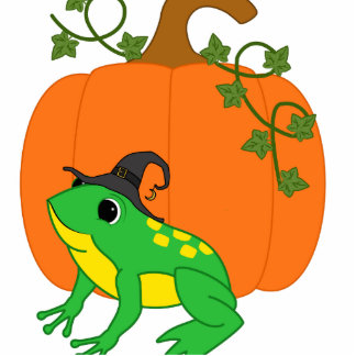 Green Frog Witch with Halloween Pumpkin Photo Sculpture Ornament