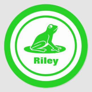 Green Frog with Name Classic Round Sticker
