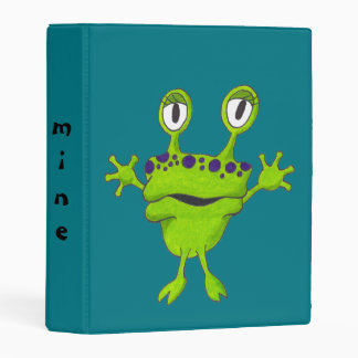 "Green Frog with Purple Spots ""Gop"" Mini Binder"