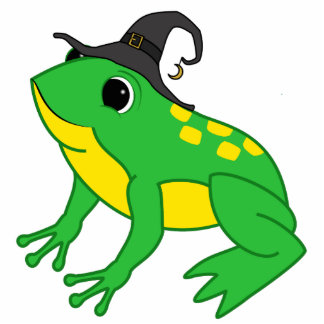 Green Frog with Witch Hat & Moon Charm Photo Sculpture Ornament