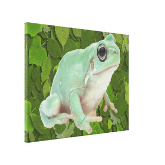 """Green Frog Wrapped Canvas 24x18"""" Canvas Print"""
