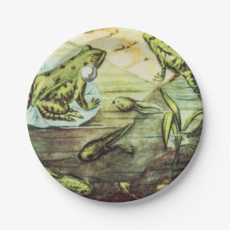 Green Frogs, Animal Illustration 7 Inch Paper Plate