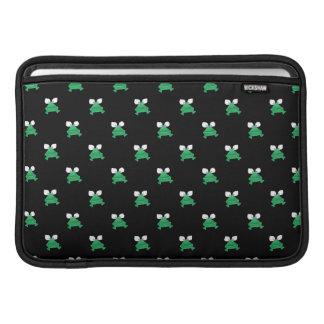 Green Frogs on Black MacBook Air Sleeves
