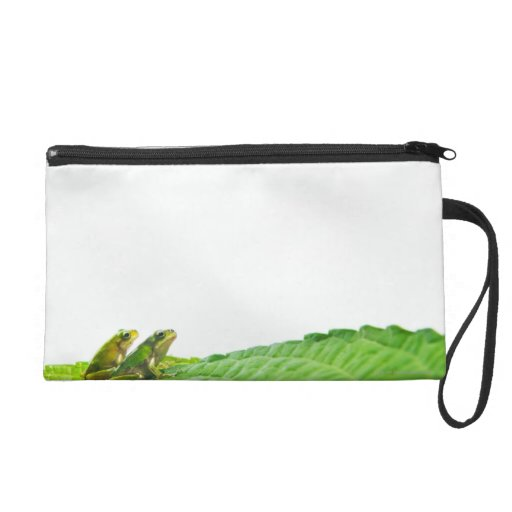 Green frogs on the leave wristlet purses