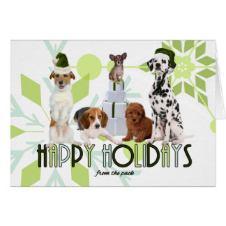 Green from the Pack Holiday Dogs Card