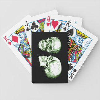 Green Front Side Human Skull Bicycle Playing Cards