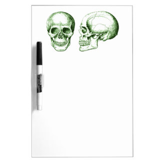 Green Front Side Human Skull Dry-Erase Boards