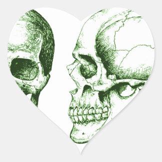 Green Front Side Human Skull Heart Sticker
