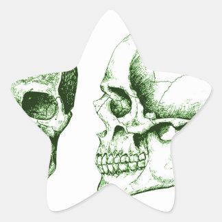 Green Front Side Human Skull Star Sticker