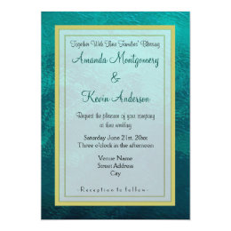 Green Frosted Glass Texture Wedding Card