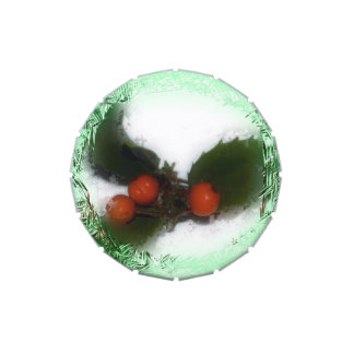 Green Frosty Holly Berries Candy Tin