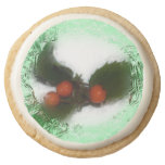 Green Frosty Holly Berries Round Premium Shortbread Cookie