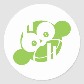 Green Funky Munky Round Stickers