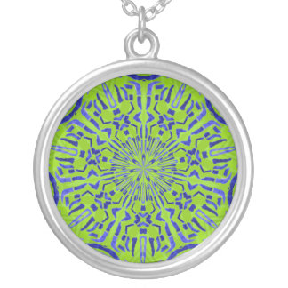 green funky pattern round pendant necklace